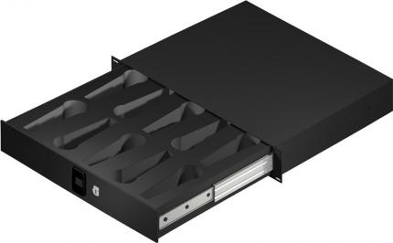 "2U 14.2"" Deep Rack Lockable Drawer with Insert for 10 Wired Microphones"