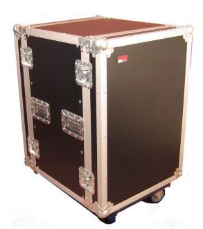 ATA Style 14-Space Rack Road Case with Locking Caster Board