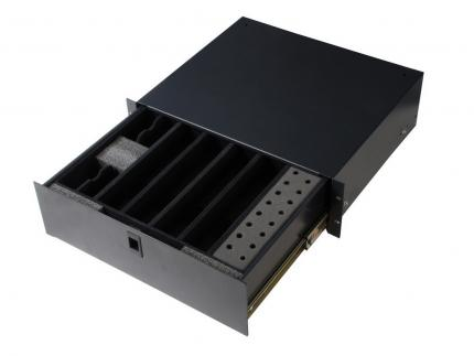 "3U 14.2"" Deep Rack Lockable Drawer with Insert for 4 Wireless Microphones & Accessories"