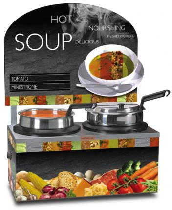 Double 7qt Warmer Soup Merchandiser Package with Customizable Menu Strips