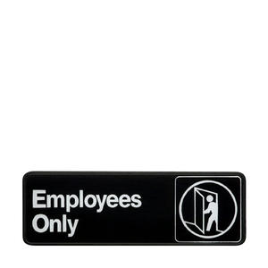 "Traex® Sign ""Employees Only"" White on Black 3"" x 9"