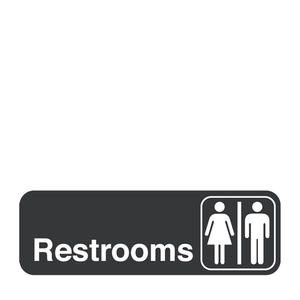 "Traex® Sign ""Restrooms"" White on Black 3"" x 9"""