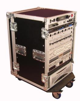 ATA Style 16-Space Rack Road Case with Locking Caster Board