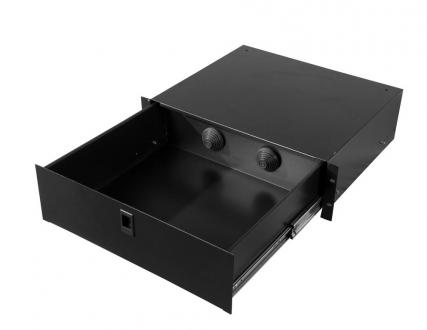 "2U Fully Enclosed Drawer with 2 Rear Access Holes, 14.2"" Deep"