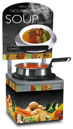 Single 7 Qt. Warmer Soup Merchandiser Package with Customizable Menu Strips
