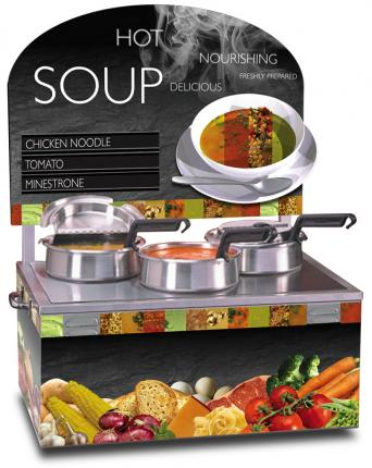 Triple 4qt Warmer Soup Merchandiser Package with Customizable Menu Strips