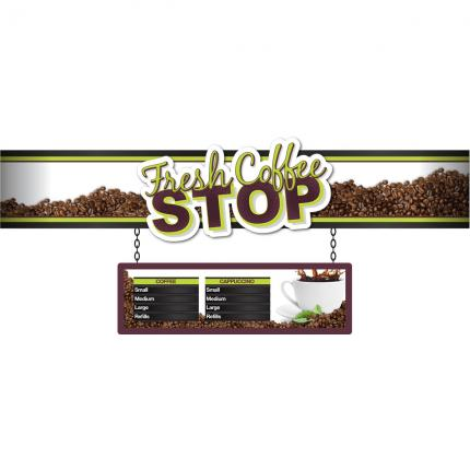 "6ft Eurorail ""Coffee Stop"" Merchandiser with Customizable Menu Strips"