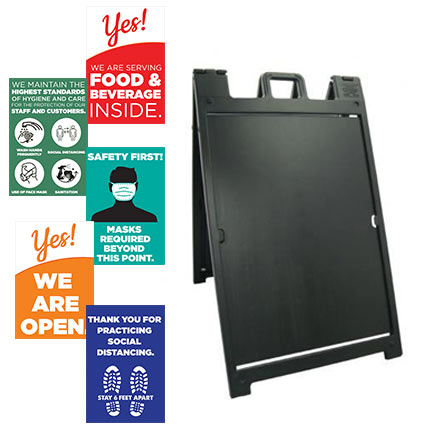 Black Plastic Outdoor Double Sided A-Frame Sign