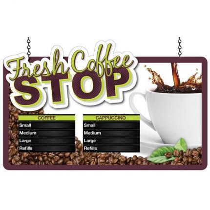 """Coffee Stop"" Merchandiser Hanging Sign"