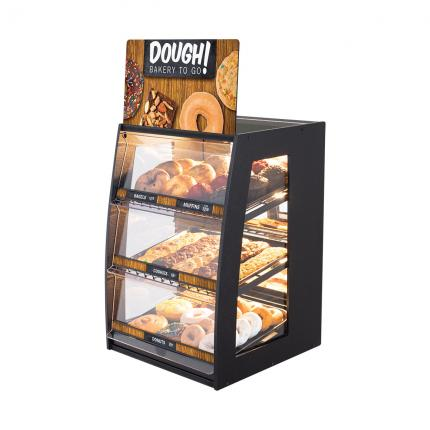 """Dough! Bakery To Go"" Bakery Case: Narrow Countertop with Mirrored Back & LED Strip Lights"