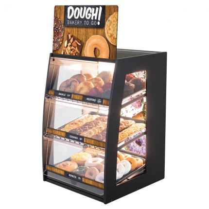 """Dough! Bakery To Go"" Bakery Case: Narrow Countertop with Premium LED Back Panel"