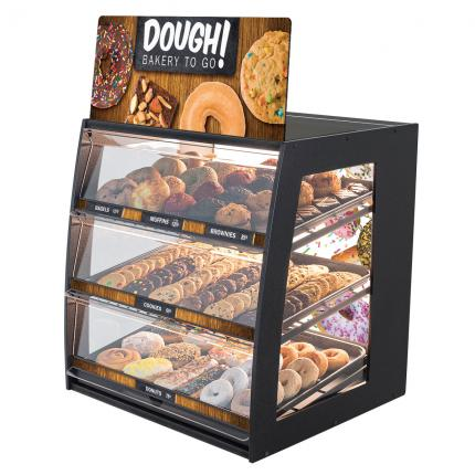 """Dough! Bakery To Go"" Bakery Case: Wide Countertop with Premium LED Back Panel"