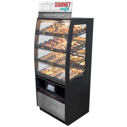 """Gourmet Cafe"" Bakery Case: Floor-Standing with Mirrored Back & LED Strip Lights"