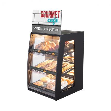 """Gourmet Cafe"" Bakery Case: Narrow Countertop with Mirrored Back & LED Strip Lights"