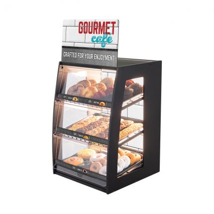 """Gourmet Cafe"" Bakery Case: Narrow Countertop with Premium LED Back Panel"