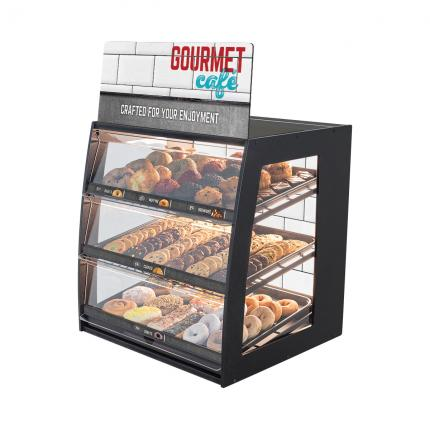 """Gourmet Cafe"" Bakery Case: Wide Countertop with Mirrored Back & LED Strip Lights"