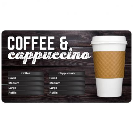 """Gourmet Cafe"" Coffee & Cappuccino Menu Board"