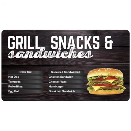 """Gourmet Cafe"" Grill, Snacks & Sandwiches Menu Board"