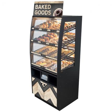 """Modern Minimal"" Bakery Case: Floor-Standing with Mirrored Back & LED Strip Lights"