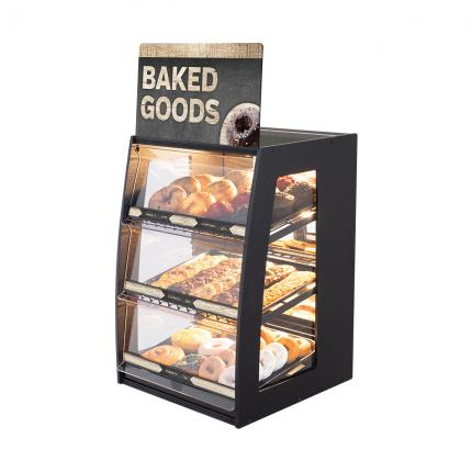 """Modern Minimal"" Bakery Case: Narrow Countertop with Mirrored Back & LED Strip Lights"