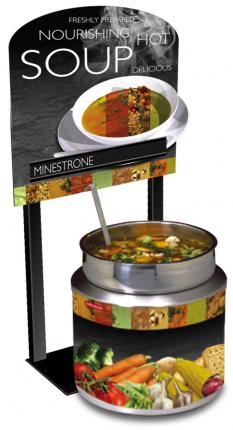 7 Qt. Round Warmer Soup Merchandiser Package with Customizable Menu Strips