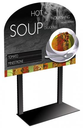 2 Soup Merchandiser with Customizable Menu Strips